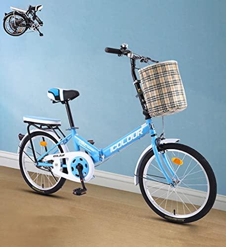 Faltrad Damenfahrrad 16inch 20\'\' Stadtfahrrad Komfortables Singlespeed mit Korb + Ablage, tragbares leichtes Fahrrad Unisex Studentenfahren(Color:Blue,Size:20\'\')