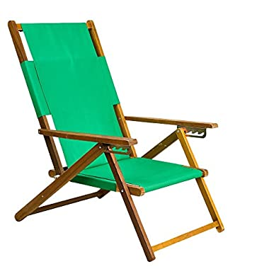 APEX LIVING Portable Patio Wooden Beach Folding Adjustable Chair Commercial Indoor and Outdoor Chaise Lounger Green