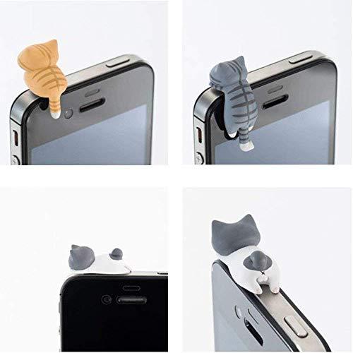 JUNGEN 6 Stück Universelle Staubdichte Stecker Kätzchen Staubdichte Stecker Anhänger Anti Staub Plug für Smartphones, Zufällige Farben