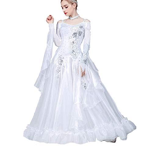 Fhxr Vestido de baile de saln estndar nacional para mujer, traje de danza moderna, vestido de vals de baile social (color blanco, tamao: XXXL)