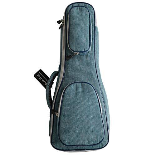MUSIC FIRST Funda para ukelele de tela de algodón puro de 15 mm de grosor, estilo vintage, para ukelele, funda suave para ukelele soprano de 53 cm, tela vaquera.