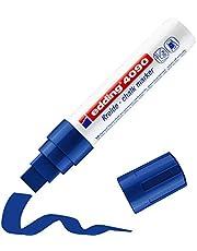 edding 4090 krijtmarker - blauw - 1 krijtstift - beitelvormige punt 4-15 mm - krijtstift voor borden, uitwisbaar - voor het schrijven op ruiten, glas, spiegels - bordstift met dekkende kleuren