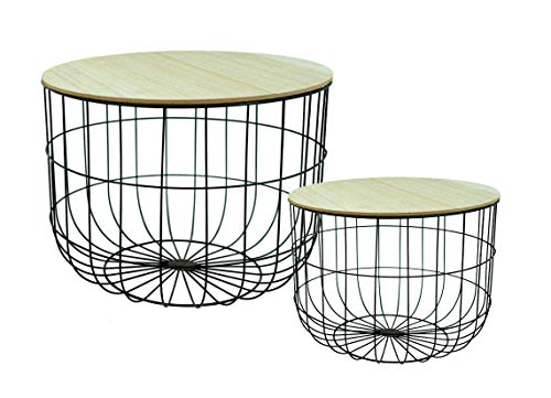 Metall Beistelltisch im 2er Set - mit Abnehmbarer Holz Platte Wohnzimmer Couch Tisch Sofatisch