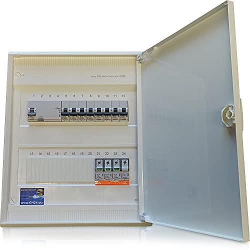 Hager Caja de fusibles en yeso con puerta, lista para conectar con dispositivos de montaje Legrand y protección contra sobretensión (VA 24 de 2 filas, 1 FI y 8 de B16)