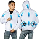 Clement Attlee Air-Conditioned Clothes Cooling Fan Jacket Man Woman,Cooling Suit with Fan Fan Suit for High White
