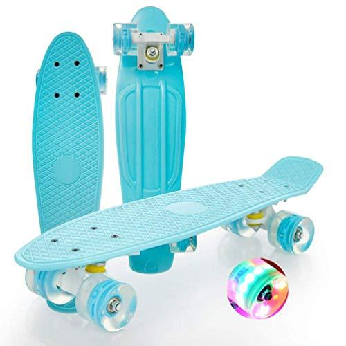 Kinder-Skateboard, 141 Skateboard 22-Zoll-Komplettkreuzer Retro-Skateboard LED-Leuchträder mit Einzelwippe Kinder Erwachsener Anfänger Allrad-Roller-Skateboard Für Kinder/Jugendliche/Erwachsene