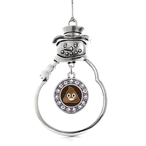 Inspired Silver - Poop Emoji Charm Ornament - Silver Circle Charm Snowman Ornament with Cubic Zirconia Jewelry
