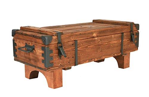 Mesa auxiliar de madera de pino, con diseño de cofre antiguo, 39 cm (altura) x 41 cm (profundidad) x 97 cm (ancho).