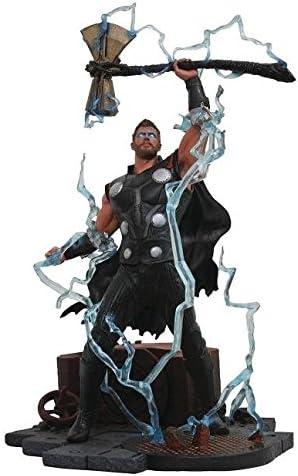 DIAMOND SELECT TOYS Marvel Gallery: Avengers Infinity War Movie Thor PVC Diorama Figure, Standard, Black