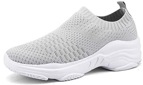 ZUSERIS Damen Laufschuhe Turnschuhe Slip On Sportschuhe Leichte Sneakers Outdoor Walkingschuhe Freizeit Schuhe Size Grau 38