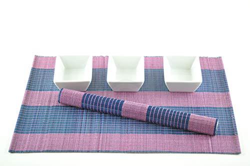 6 faite à la main en bambou Sets de table, sets de table, Lot de 6, Pink-blue, P055 filtre