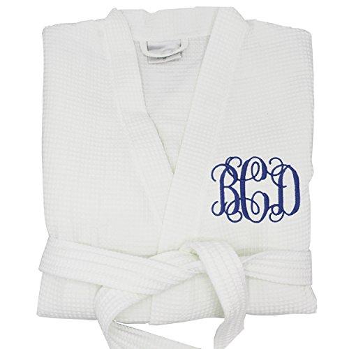 Personalized Waffle Bridesmaid Kimono Robe - Wedding Bridal Party Robes - Women's Bathrobe - Custom Monogrammed (One Size (S/M/L), White)
