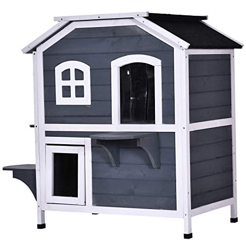 PawHut Solid Wood Cat Condos Pet House Eco-Friendly Water Proof Outdoor 2-Floor Villa, Grey