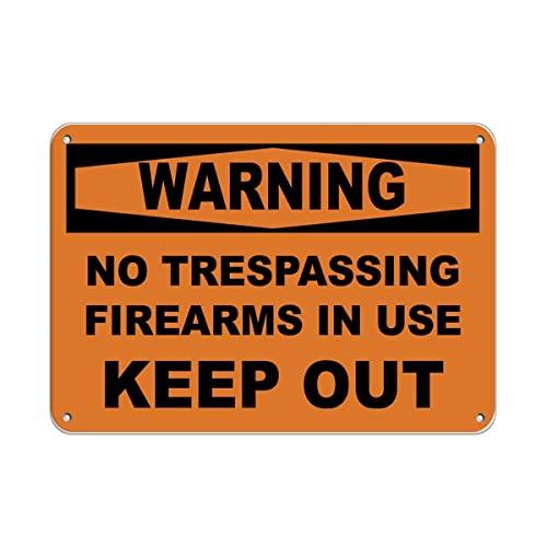 Kathlen Advertencia: Prohibido el Paso de Armas de Fuego en Uso Mantener Fuera del Patio Piscina Estacionamiento para el hogar Señales de Advertencia de Metal de hojalata para Interiores y