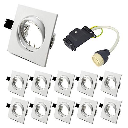 GU10 Vierkant-Unterputzrahmen, GU10 Unterputz-Schwenkring mit GU10-Lampenfassung für GU10 MR16 50 mm LED und Halogen, 40 ° Schwenk, IP20, Weiß, 10er-Pack