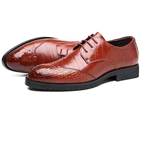 Casual Shoes Oxford-schoenen, voor zakenmannen, formel, veters, ronde hak, vierkant, van echt leer, brocheerd, antislip