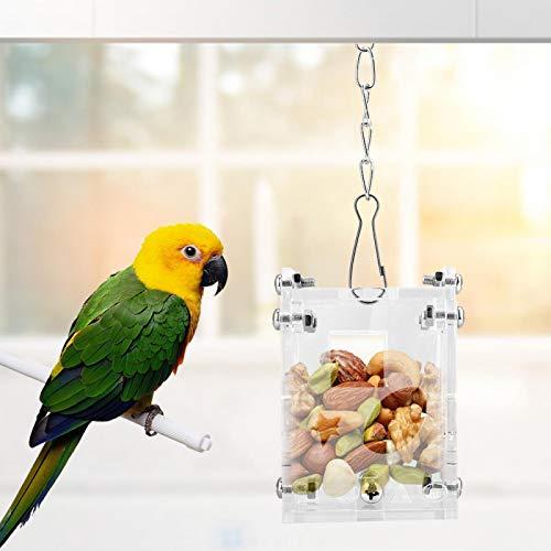 Juguetes de Rompecabezas de alimentación de Alimentos, Canasta de Comida acrílica Transparente para Mascotas, para hámster, maní, Loro, Ardilla, Frutas, Verduras, Conejo, pájaros