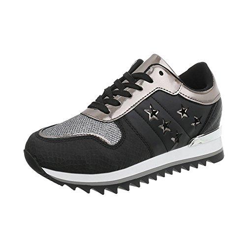 Ital-Design Sneakers Low Damen-Schuhe Keilabsatz/Wedge Schnürsenkel Freizeitschuhe Schwarz Silber, Gr 38, G-127-