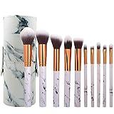 Brochas Maquillaje Profesional, 10 Piezas de Pinceles Maquillaje de Fibra Sintética para Las Cejas Sombra de Ojos Base de Maquillaje Polvos Crema con Caja de Almacenamiento