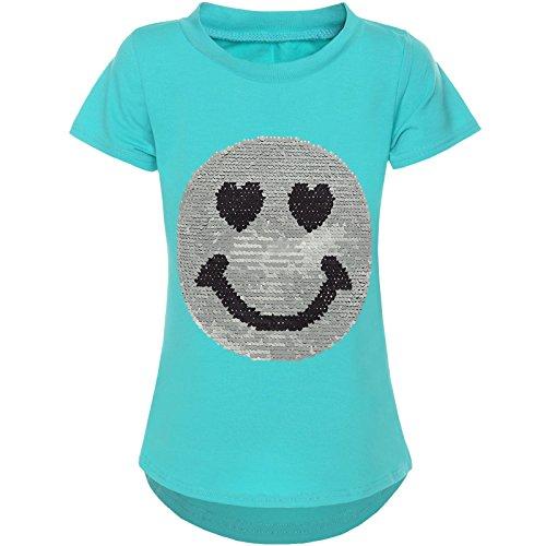 BEZLIT Kurzarm Mädchen T-Shirt Wende-Pailletten Motiv Glitzer Bluse 21287 Grün Größe 164
