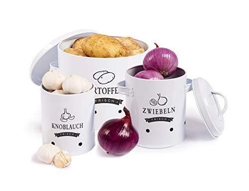 Sylando Aufbewahrung Kartoffeln Set,Vorratsdose Kartoffeln, Zwiebeltopf Kartoffeltopf Knoblauchtopf, Großer Vorratsbehälter aus Metall, Weiß