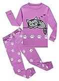 Cat Little Girls Long Sleeve Pajama Sets 100% Cotton Pjs Size 7