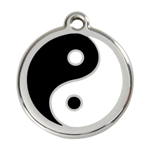 Red Dingo Custom Engraved Stainless Steel and Enamel Dog ID Tag - Yin Yang (Medium)