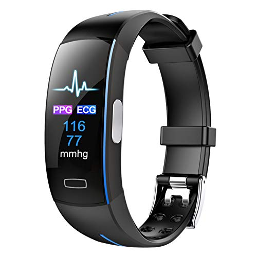 QIAI Smartwatch Farbbildschirm EKG + PPG Herzfrequenz Blutdruckmessung Smartwatch Übung Fitness Tracker Wasserdichtes Smart Armband(Color:EIN)