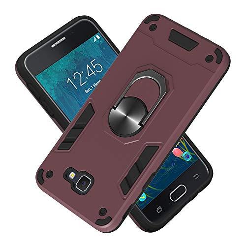 Armure Coque Samsung Galaxy J5 Prime, Boîtier PC + TPU Double Layer Housse résistant aux Chocs avec Support à Anneau Rotatif à 360 degrés (Bordeaux)