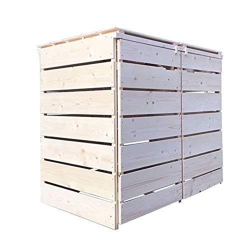 Lukadria Mülltonnenbox Mülltonnenverkleidung Mülltonnecontainer Holz 120L - 240L Natur mit Rückwand Alster (2 Tonnen)