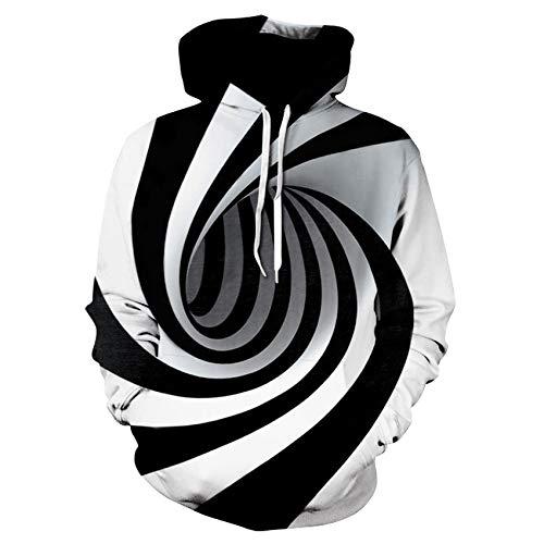 NUOSHOU Sudaderas,Vórtice Digital de la Impresión 3D Jersey con Capucha Personalizada Jersey de Moda Chaqueta con Sombrero/A / 4XL