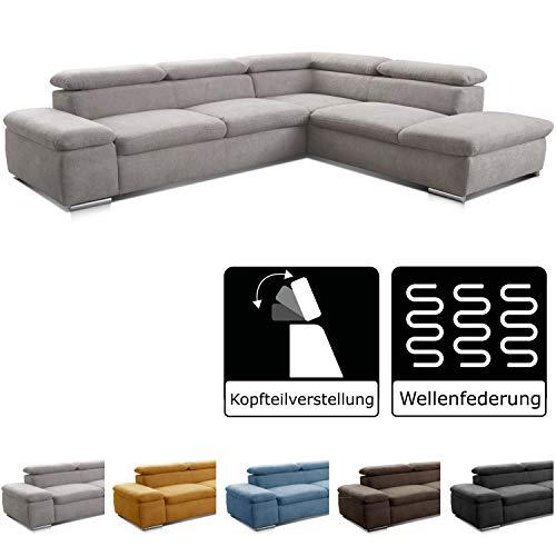 Cavadore Ecksofa Alkatraz / L-Form Sofa groß mit Ottomanen rechts und verstellbaren Kopfteilen / Modernes Design und hochwertiger Webstoff-Bezug / 274 x 66 x 228 cm / Hellgrau (Paris silver)