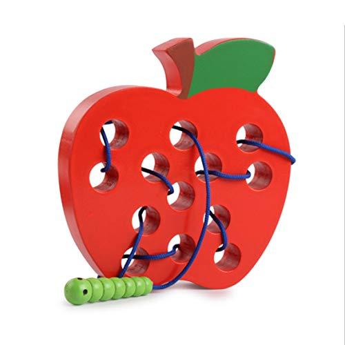 AmiAbi Crianças Montessori Brinquedo Educacional de Madeira Divertido Linha de Brinquedo de Madeira Forma Cognize Verme Comer Queijo Maçã Ensino de Aprendizagem (multicolor), Brinquedo de frutas com