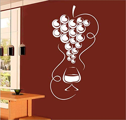Muursticker muursticker behang druiven café wijnglas glas glas afneembare pvc-sticker woonkamer decoratie 85 x 44 cm