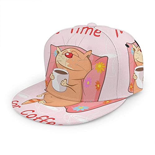 Cute Cat Hat Gorra de béisbol Dibujos Animados Animal Caricatura Gatito Almohada Taza de café Lema Rosa Ajustable Flat Snapback Sombreros Sombrero de Bola Sombrero Deportivo para Hombres y Mujeres