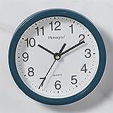 BRYSJ Relojes Redondos Simples nórdicos con Marco, Reloj de Vino Tinto para decoración de Pared, Sala de Estar, Cocina, Regalo, Azul Marino, 15X15cm
