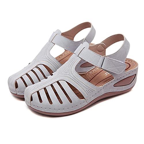 KLGH Sandalias de Verano para Mujer de Cuña de Piel Sintética, con Correa Ajustable para el Tobillo, Ahuecadas Zapatos Planos con Puntera Abierta para IR de Compras o Uso Diario gray-43