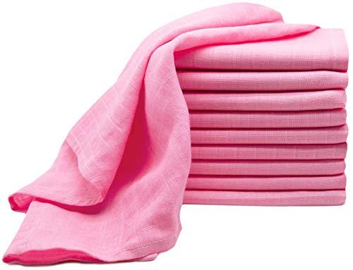 ZOLLNER 10er Set Spucktücher/Mullwindeln 100% Baumwolle, 70x70 cm, rosa