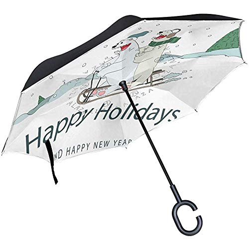 Doppelschicht-Umgekehrter Regenschirm-Bär, Der Über Schlitten-Winddichtem Auto-Regen Außerhalb des C-Förmigen Griffs Lacht