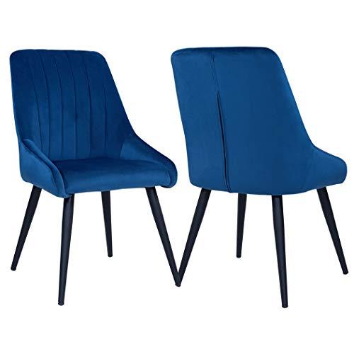 Duhome 2er Set Esszimmerstuhl aus Stoff Samt Stuhl Retro Design Polsterstuhl mit Rückenlehne Metallbeine Farbauswahl 8066, Farbe:Blau, Material:Samt
