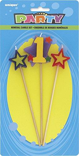 Unique Party- Conjunto de 3 velas de cumpleaños con forma de estrella, número 1 (34041)
