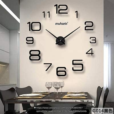Kamas Creative Personality DIY Digital Wall Clock Modern Living Room Large Wall Clock 3D Free Punch
