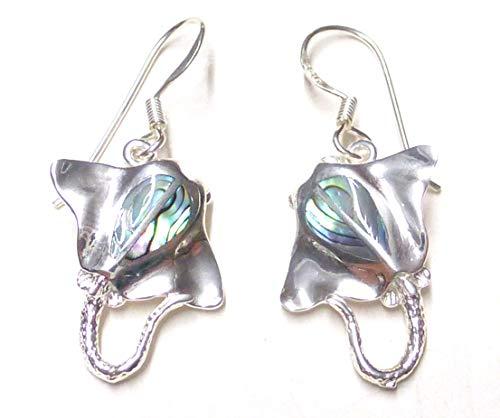 Ohrhänger Rochen mit Abalone Muschel, aus Sterling Silber gearbeitet, Geschenk, Schmuck, Tierschützer und Taucher