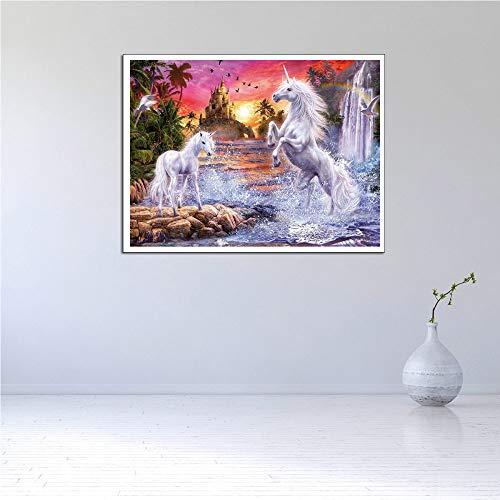 YUANOMWJ Cuadro En Lienzo Pintura,Fantasy Rainbow Unicornio Blanco Animal,Pintura En Tela, Arte De Pared Posters Imprime Fotografías Sin Marco Salón Decoración De Hogar,60X90Cm(24X36Pulgadas)