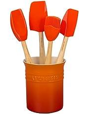 Le Creuset Bote para utensilios clásico 1.1 L, Set de 4 espátulas Craft, Caja de regalo, Naranja Volcánico