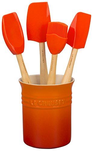 Le Creuset Classic Contenitore spatole,1.1 L, Set di 4 Spatole da cucina, Confezione Regalo, Arancione