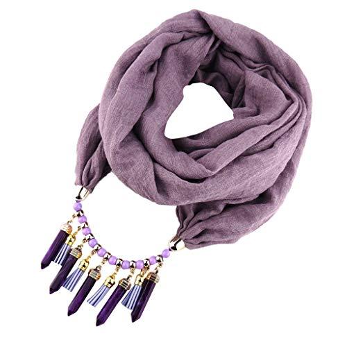 Kelry Schal Baumwolle Solide Quaste Schals Ethnische Halskette Schmuck Anhänger Frauen Turban Weich Damenschal Tuch La Sciarpa(One Size,Lila)