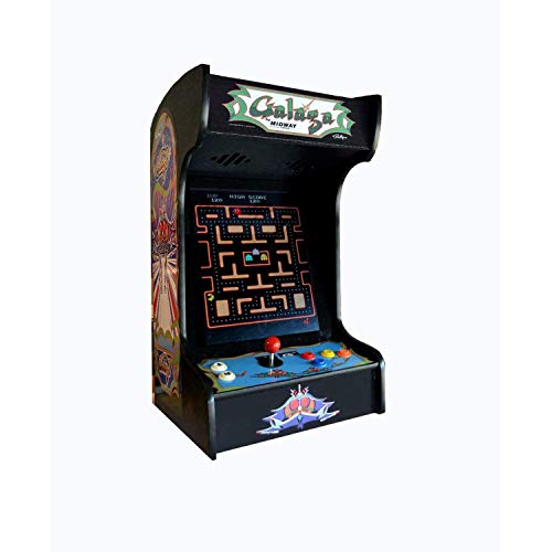 Doc and Pies Arcade Factory Classic Home Arcade Machine - Tabletop and Bartop - 60 Retro Games - Full Size LCD Screen, Buttons and Joystick (Black)