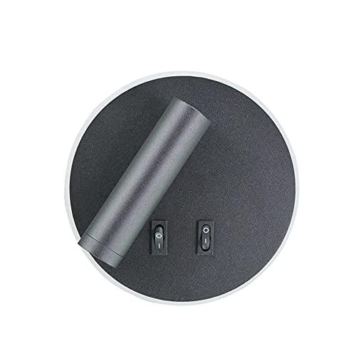 Aplique de Pared LED para Lectura 3W+7W, Luz de la Mesilla de Noche Lámpara de Pared Interior Moderna con Foco Ajustable Giratoria de 350° Interruptor Doble para Dormitorio Salón,Cool white 6000k
