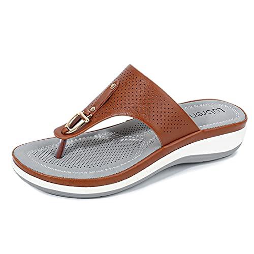 Sandalias planas de playa de verano mujer sandalias de deporte señora al aire libre rebordear flip-flops zapato joven femenino suave vacaciones zapatillas, Brown, 39.5 EU